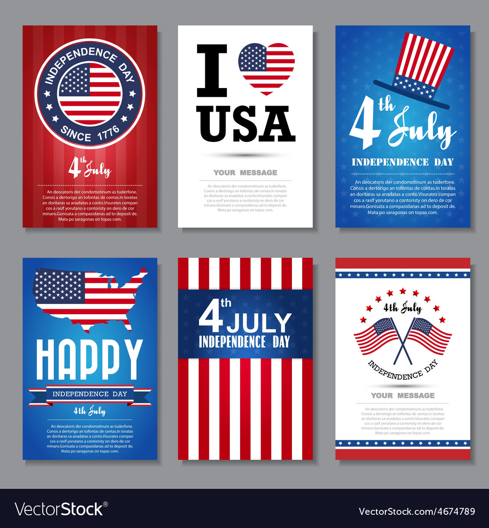 Set of greeting card independent day vector