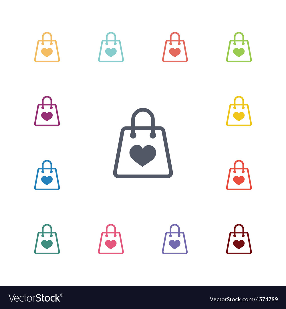 Shopping bag flat icons set vector | Price: 1 Credit (USD $1)