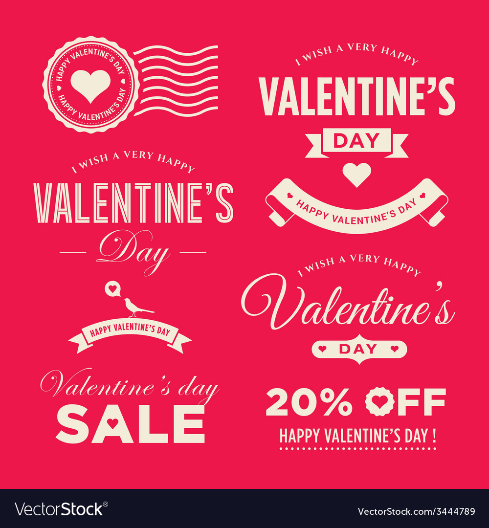 Valentines day set labels vector | Price: 1 Credit (USD $1)