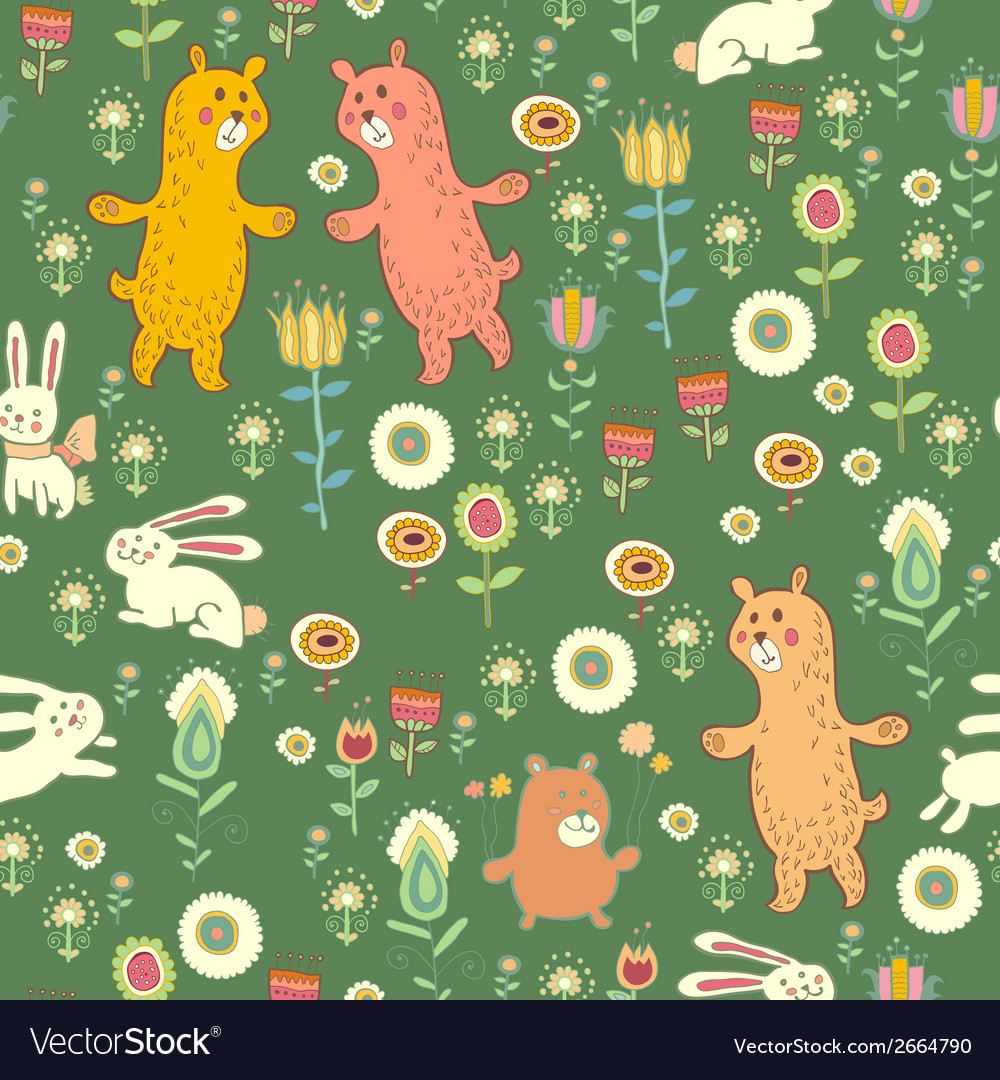 Bright childish seamless pattern with animals vector | Price: 1 Credit (USD $1)