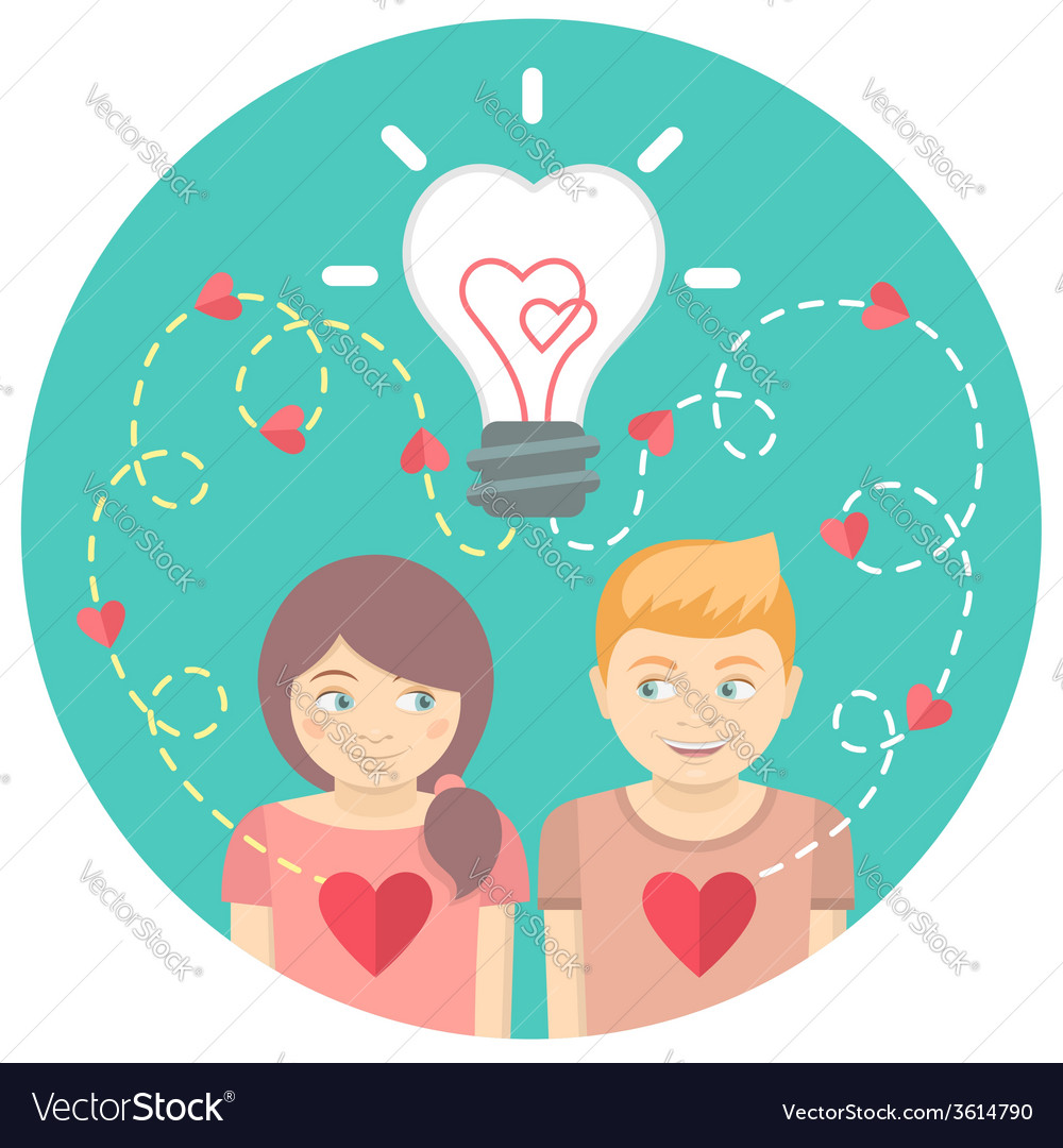 Couple in love with a light bulb in a blue circle vector | Price: 1 Credit (USD $1)
