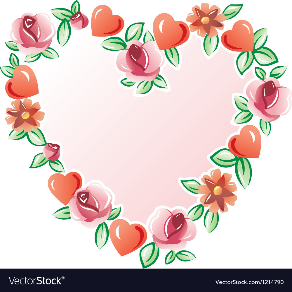 Flowers heart vector | Price: 1 Credit (USD $1)