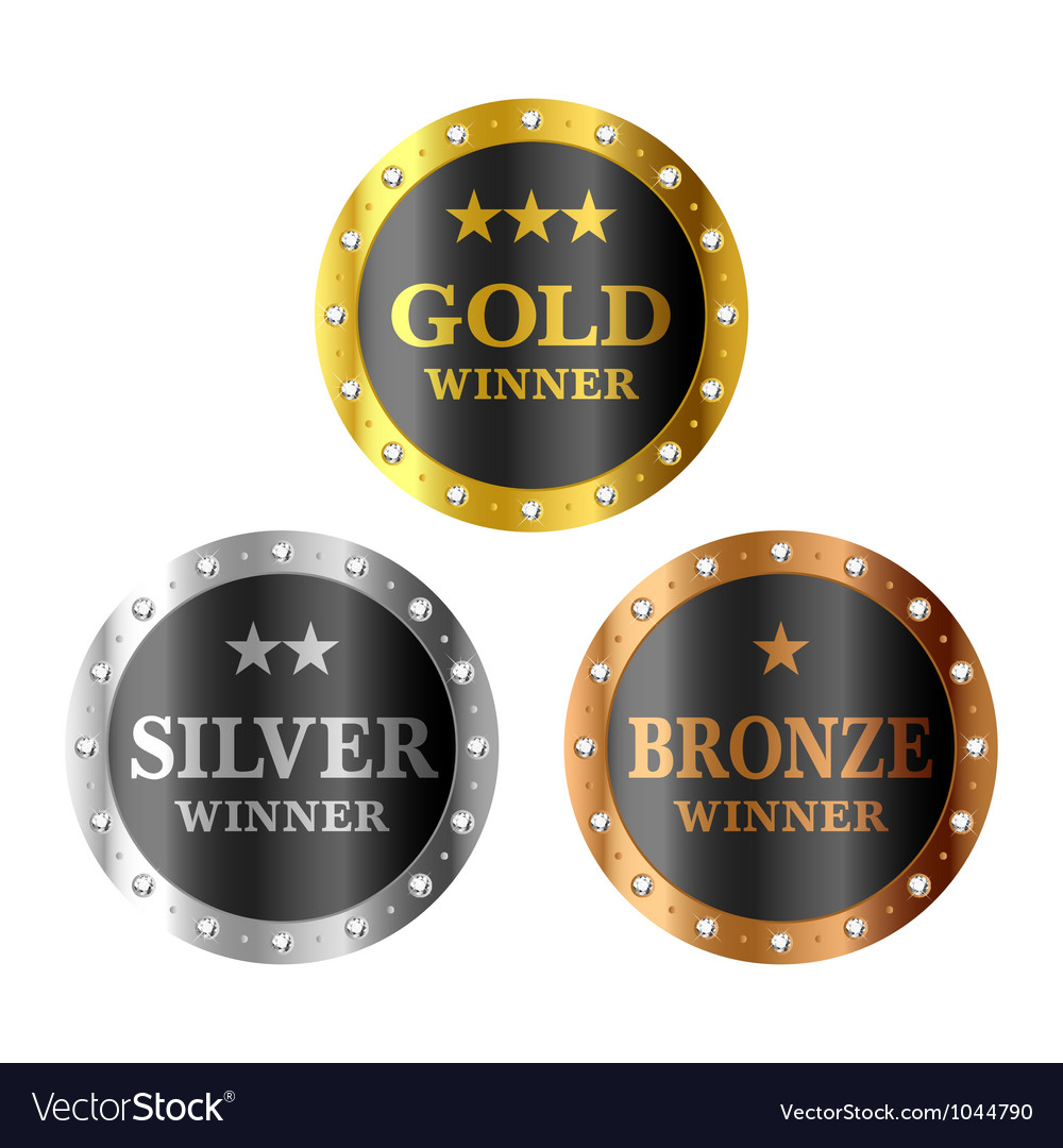 Gold silver and bronze winner medals vector | Price: 1 Credit (USD $1)