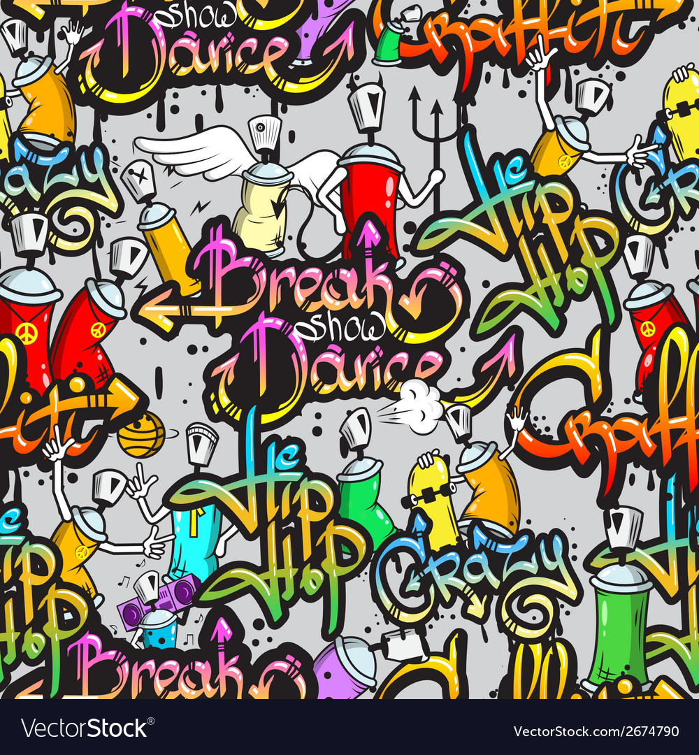 Graffiti characters seamless pattern vector | Price: 1 Credit (USD $1)