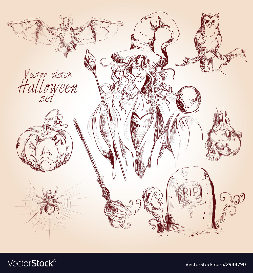 Halloween sketch set vector | Price: 1 Credit (USD $1)