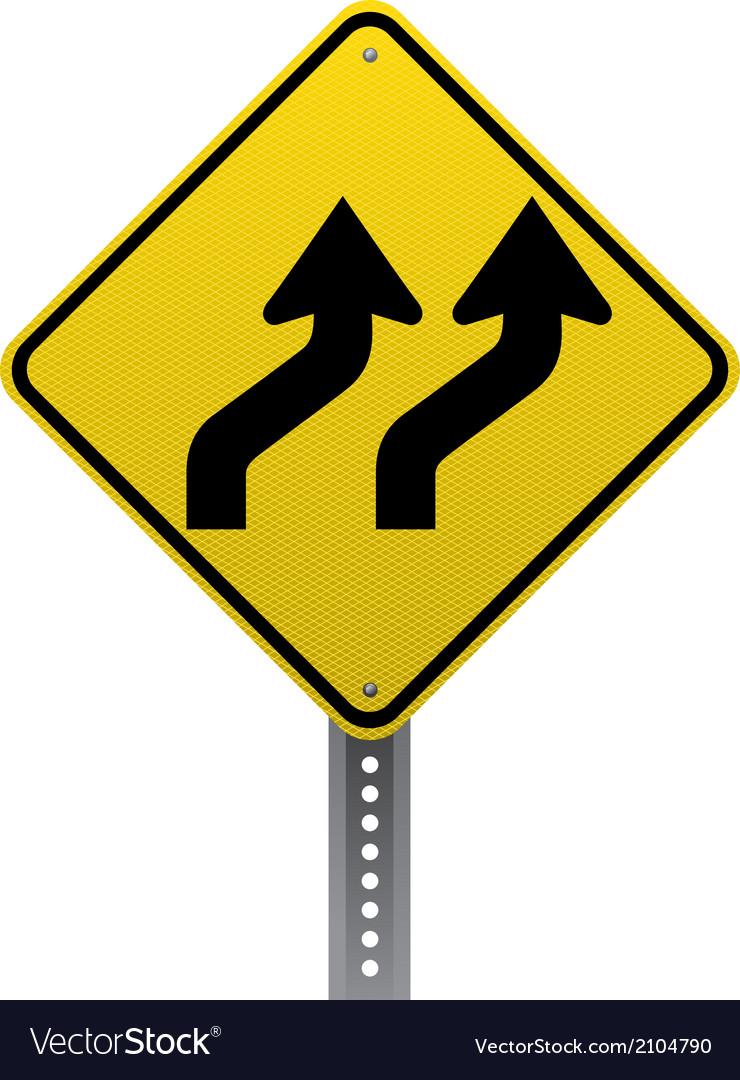 Lanes shifting sign vector | Price: 1 Credit (USD $1)