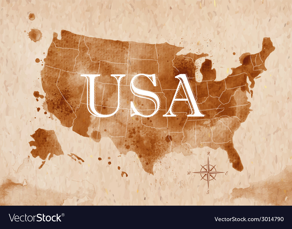 Map united states retro vector | Price: 1 Credit (USD $1)