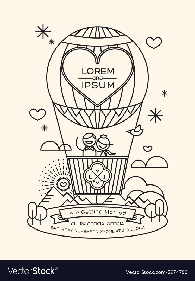 Modern wedding invitation with line art style vector | Price: 1 Credit (USD $1)