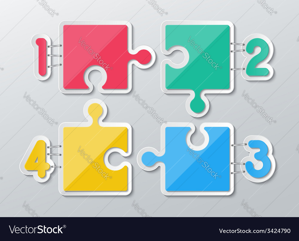 Paper puzzle infographics vector