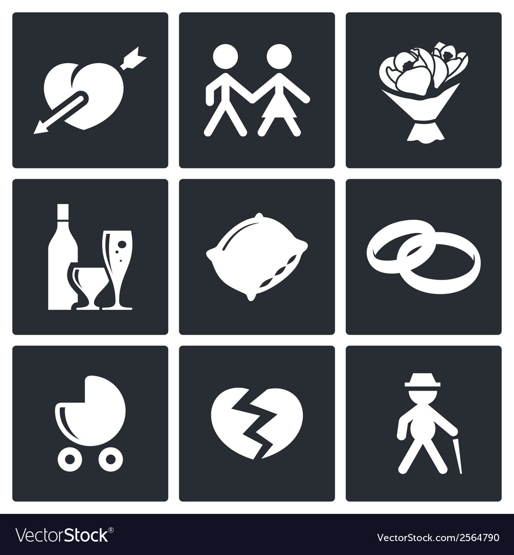 Peoples lives icons set vector | Price: 1 Credit (USD $1)