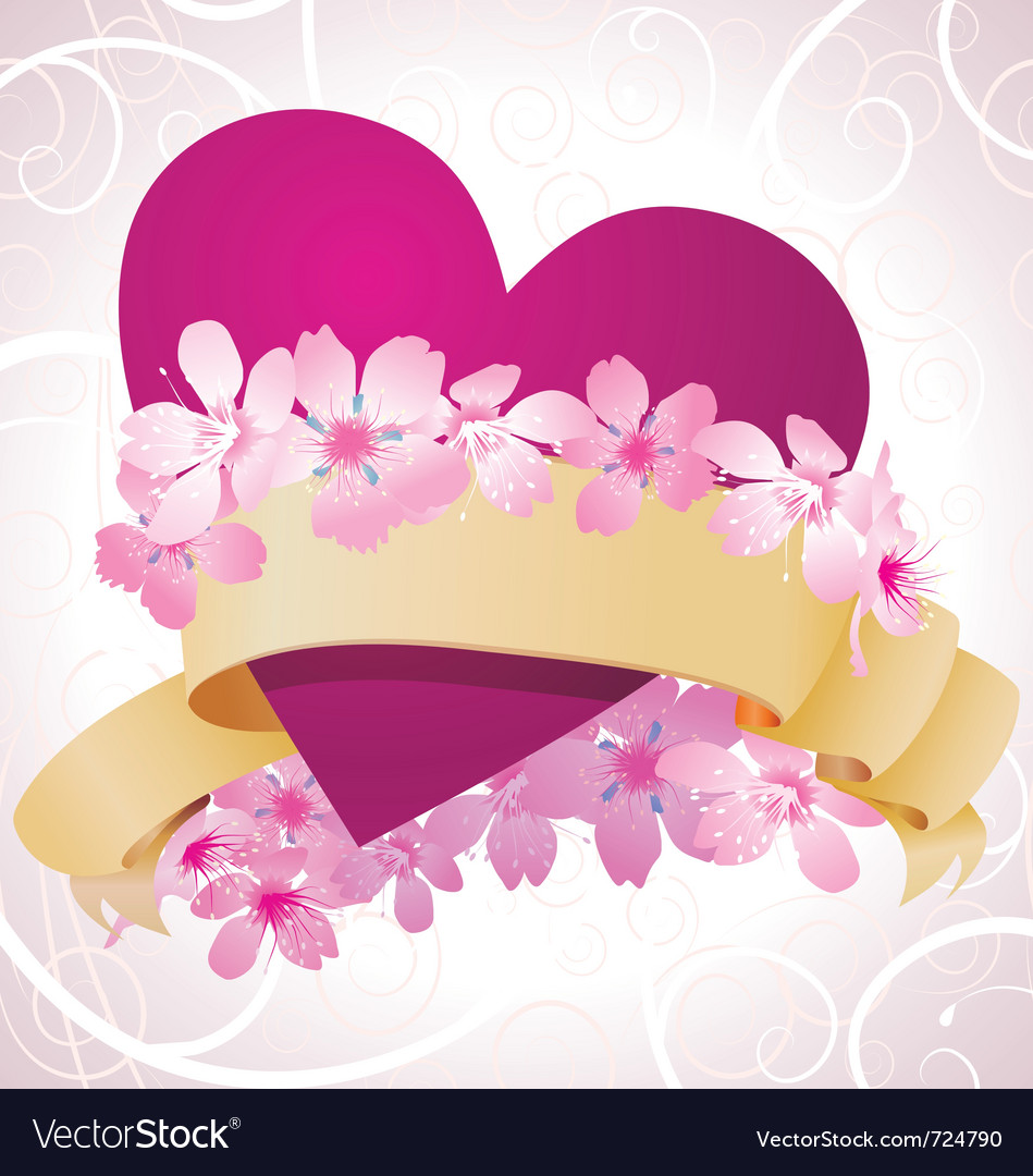 Pink flowers romance vector | Price: 1 Credit (USD $1)