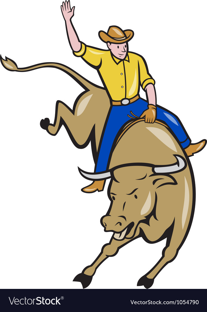 Rodeo cowboy bull riding cartoon vector | Price: 3 Credit (USD $3)