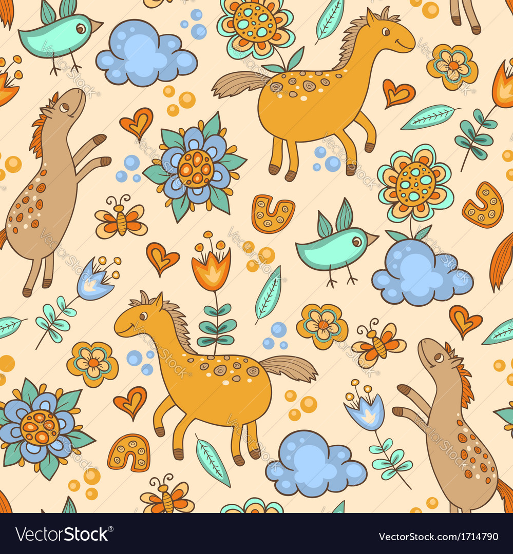 Seamless pattern with horses vector | Price: 1 Credit (USD $1)