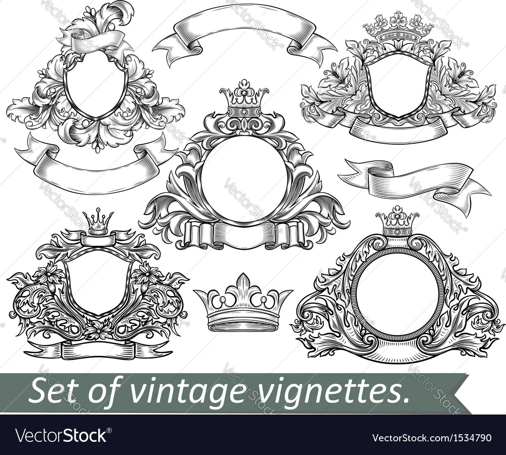 Set of vintage emblem with crowns and ribbons vector | Price: 3 Credit (USD $3)