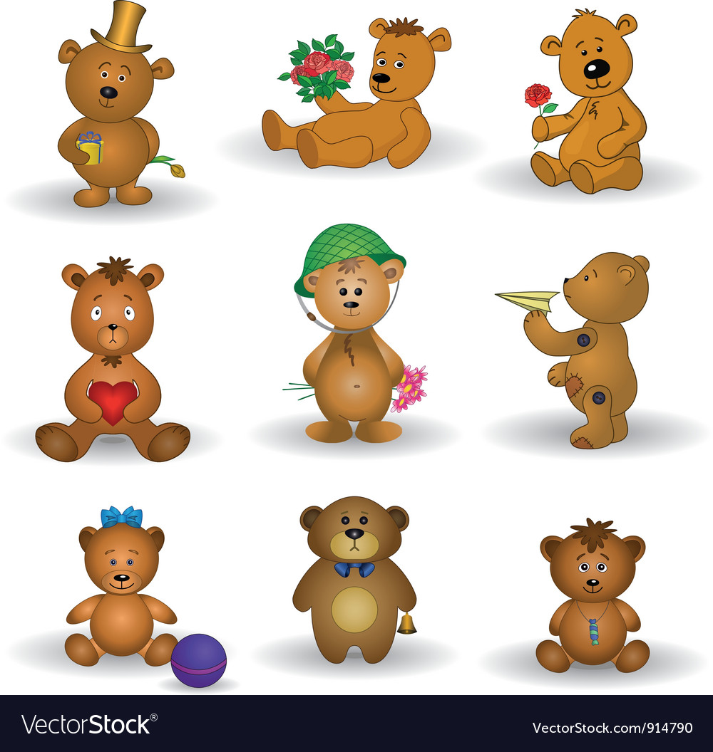 Set toy teddy bears vector | Price: 3 Credit (USD $3)