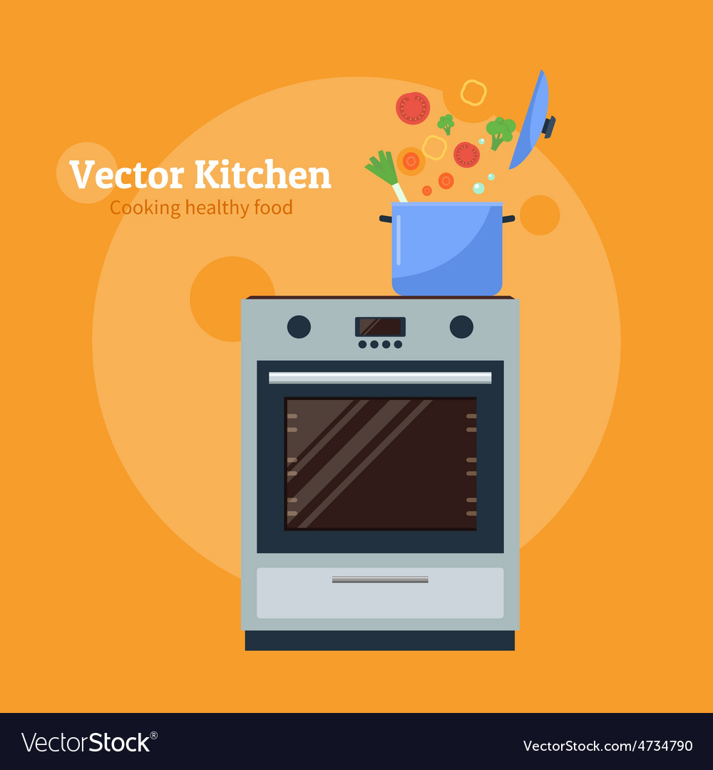 Stove with a pan vector | Price: 1 Credit (USD $1)