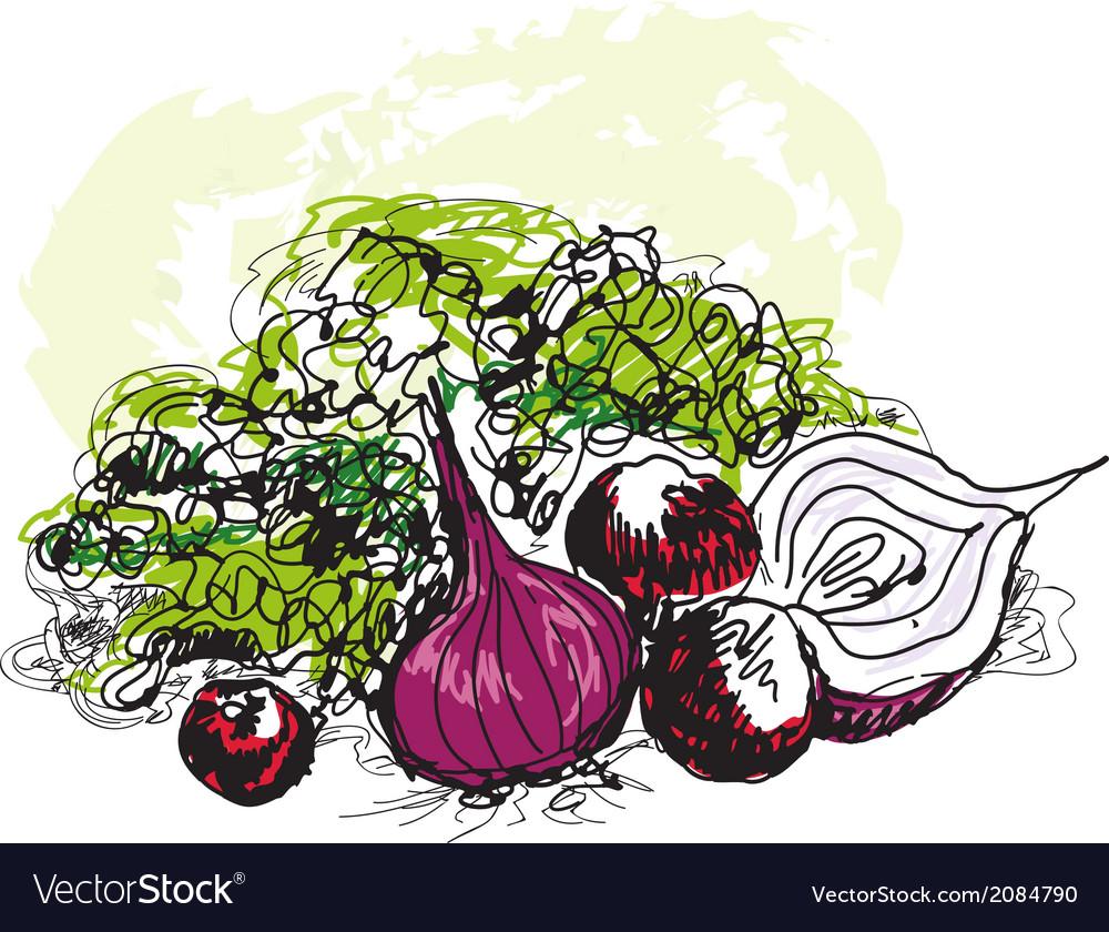 Vegetable still life vector | Price: 1 Credit (USD $1)