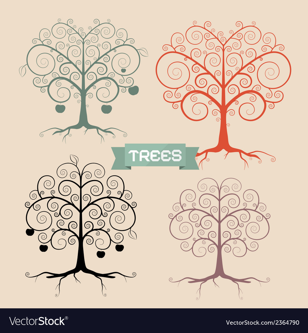 Vintage trees set vector | Price: 1 Credit (USD $1)