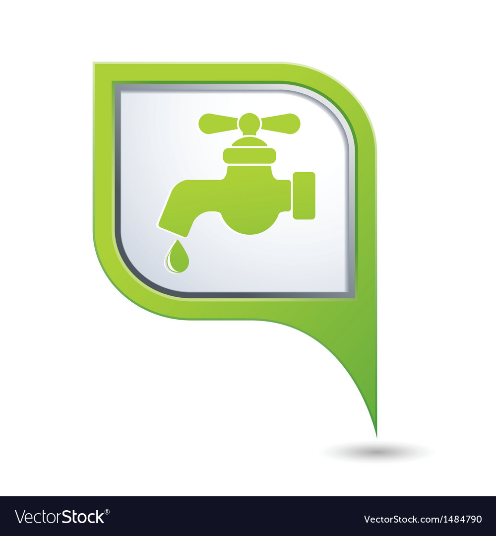 Water tap icon on green map pointer vector | Price: 1 Credit (USD $1)
