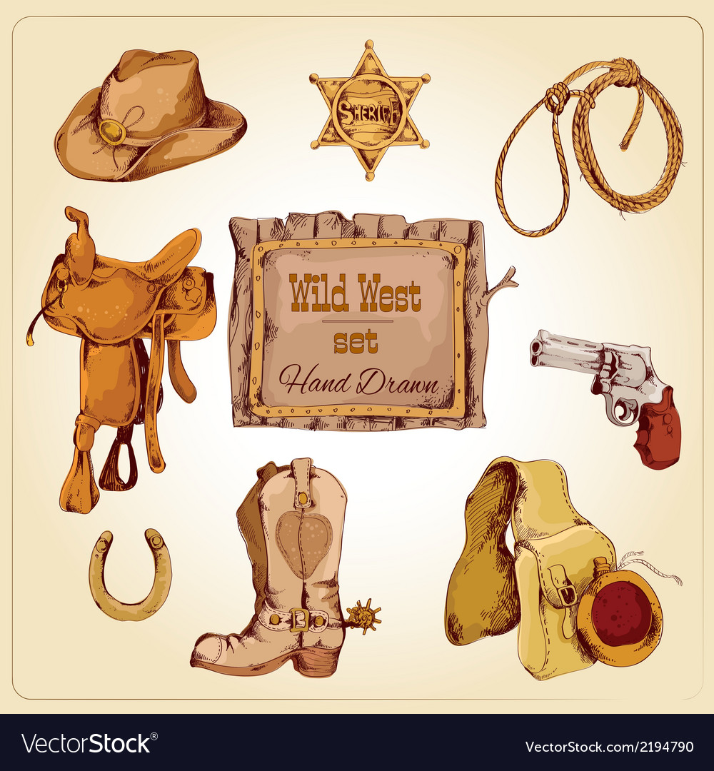 Wild west set colored vector | Price: 1 Credit (USD $1)