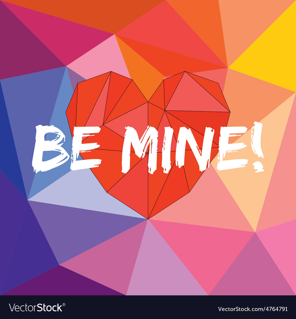 Be mine card with heart on wrapping surface vector