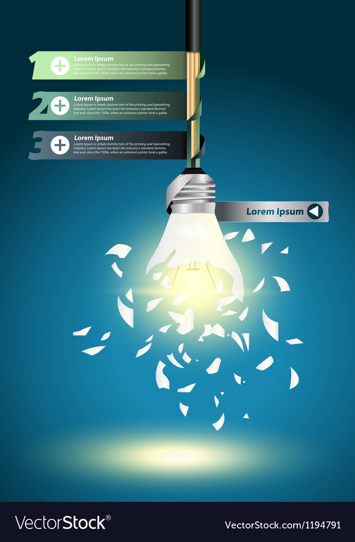 Creative template with idea bulb explode vector | Price: 1 Credit (USD $1)