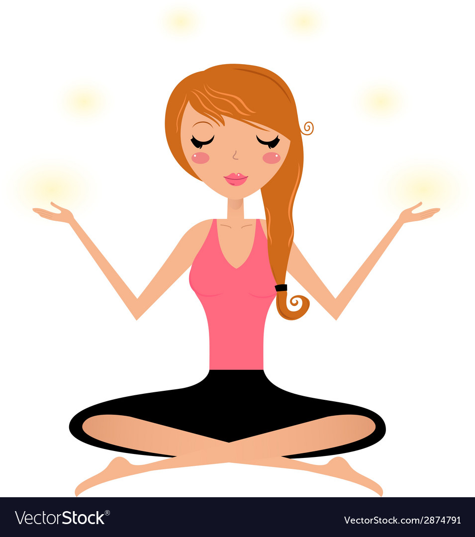 Cute woman doing yoga asana isolated on white vector