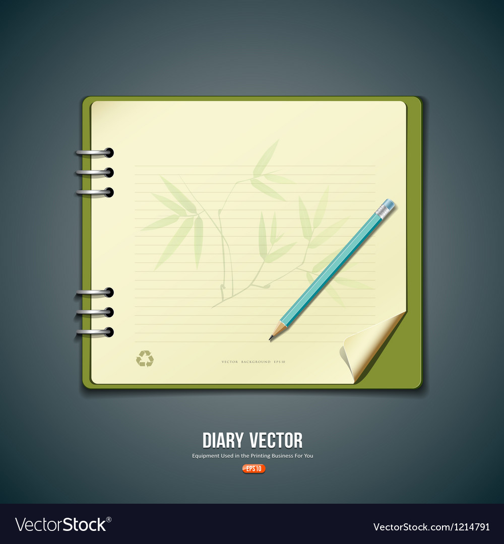 Diary green book with bamboo background vector | Price: 3 Credit (USD $3)
