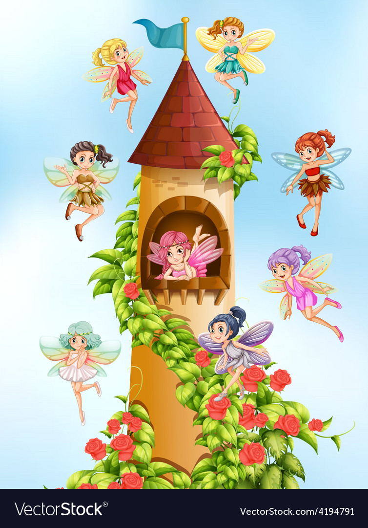 Fairies and tower vector | Price: 3 Credit (USD $3)