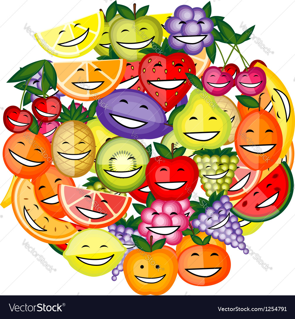 Funny fruit characters smiling together for your vector | Price: 1 Credit (USD $1)