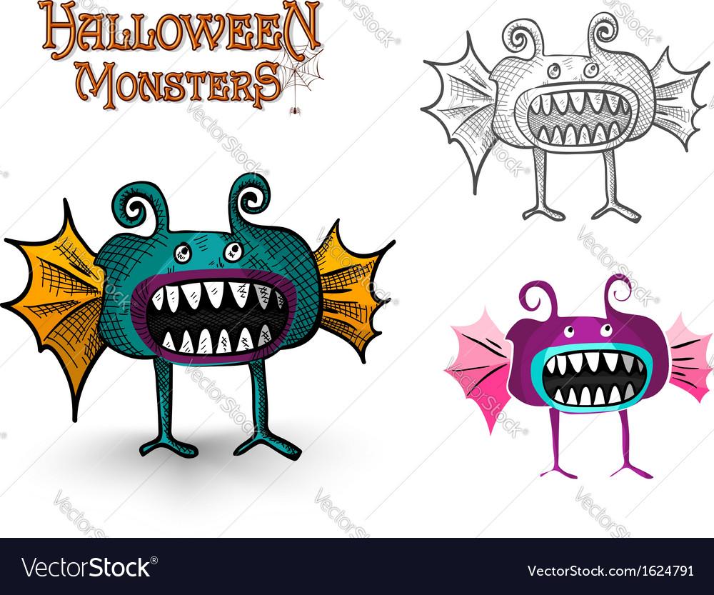 Halloween monsters spooky creature eps10 file vector | Price: 1 Credit (USD $1)