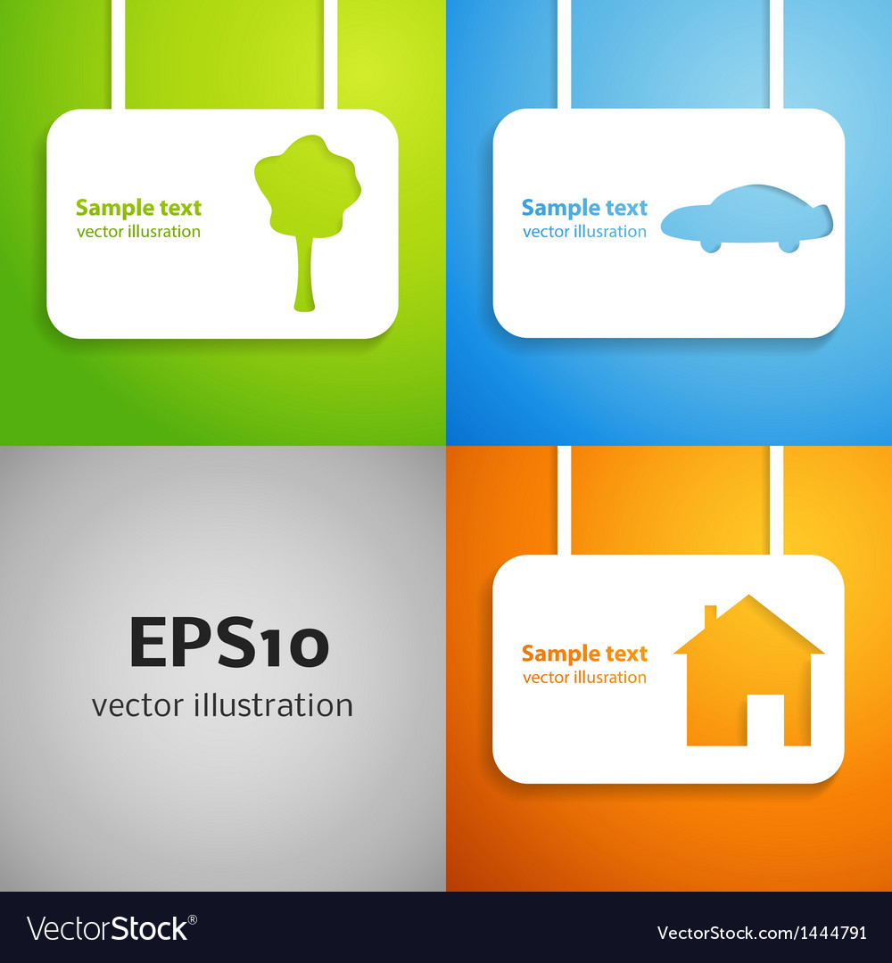 House car and tree applique background set vector | Price: 1 Credit (USD $1)