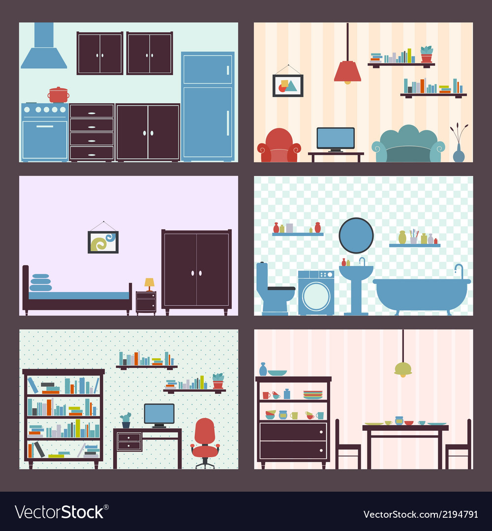 Interiors set flat vector | Price: 1 Credit (USD $1)