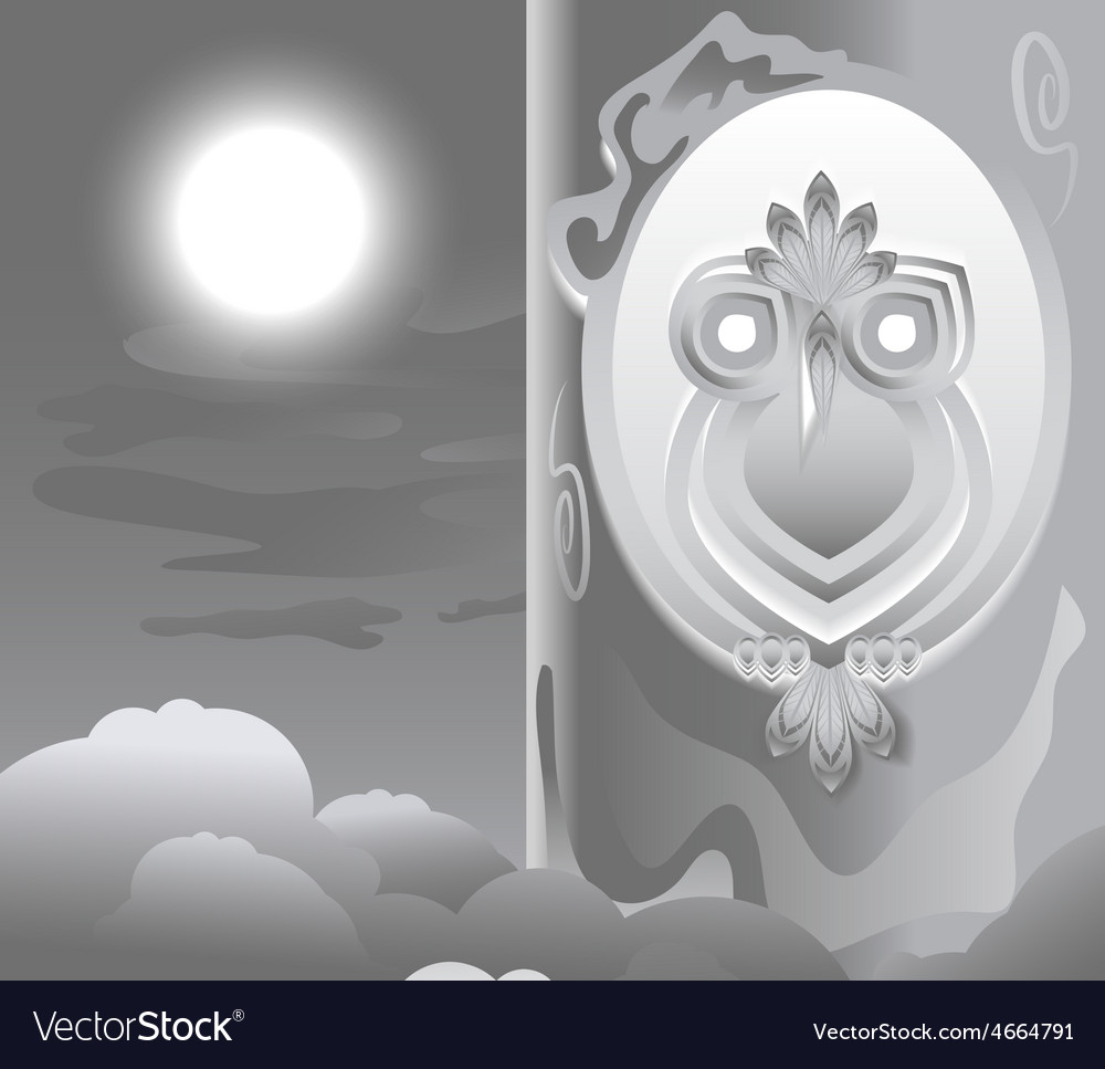 Owl in the hollow night the moon is shining vector | Price: 3 Credit (USD $3)