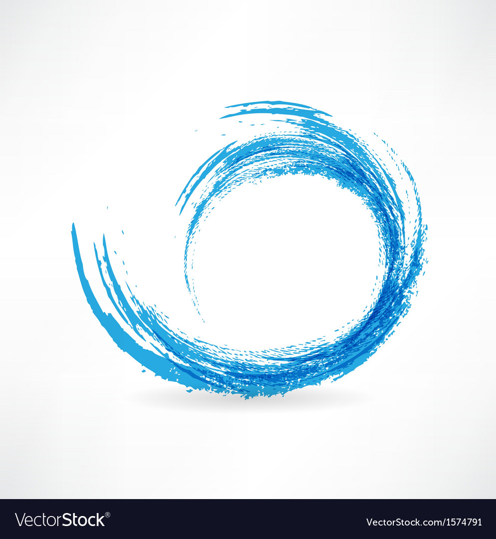 Sea wave painted with a brush design element vector | Price: 1 Credit (USD $1)