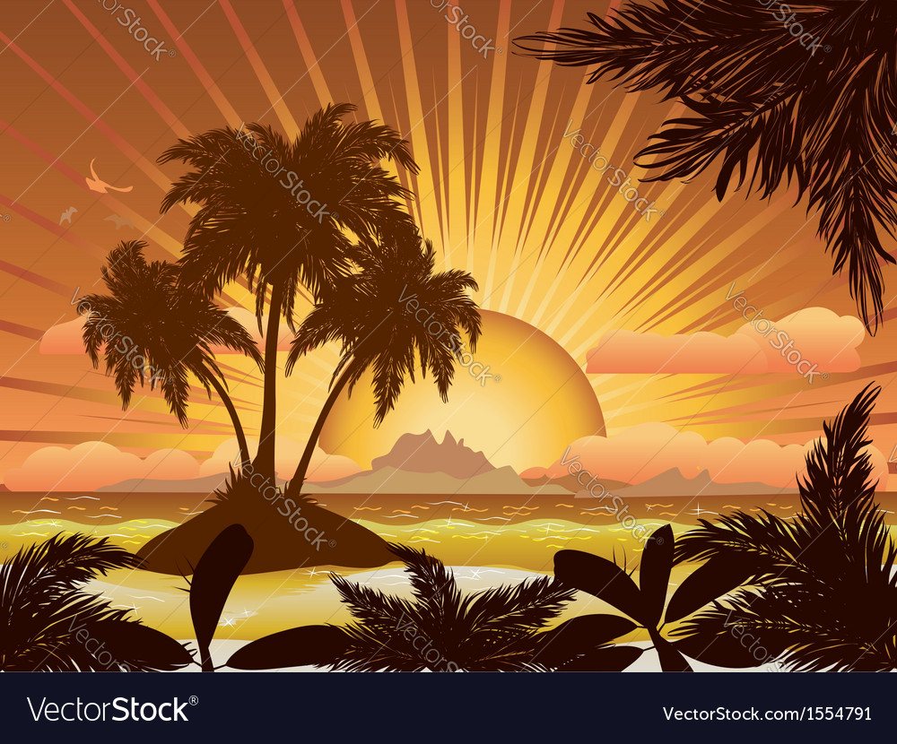 Sunset tropical island1 vector | Price: 3 Credit (USD $3)