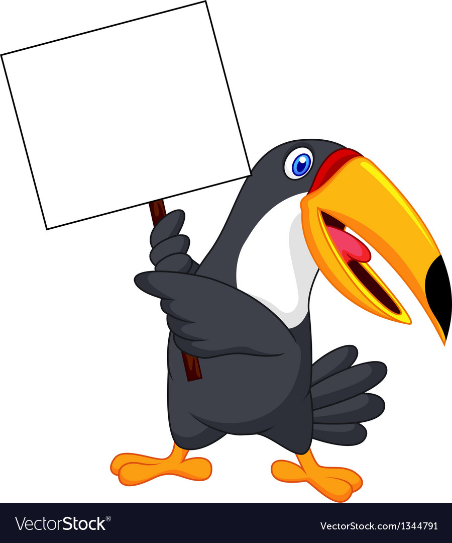 Toucan bird cartoon with blank sign vector | Price: 1 Credit (USD $1)