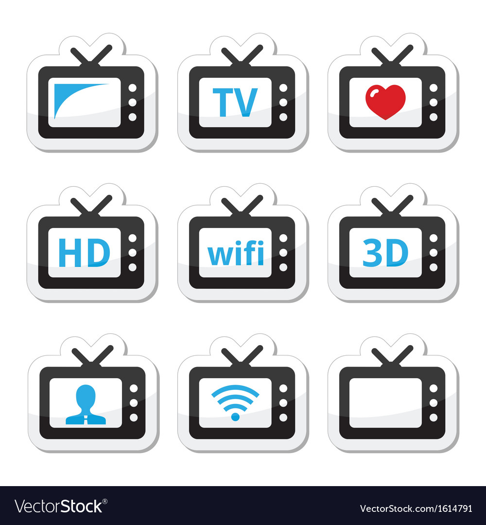 Tv set 3d hd icons set vector | Price: 1 Credit (USD $1)