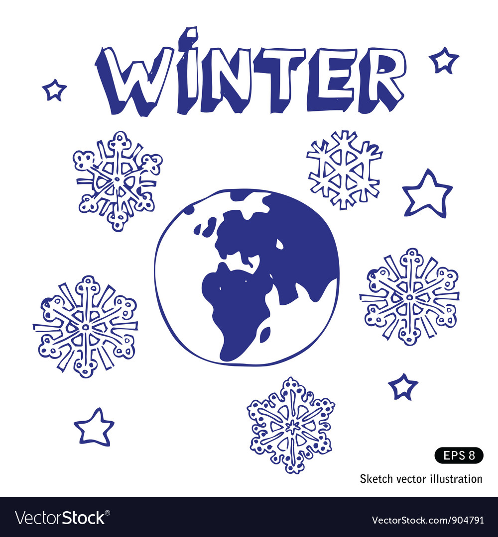 Winter earth vector | Price: 1 Credit (USD $1)
