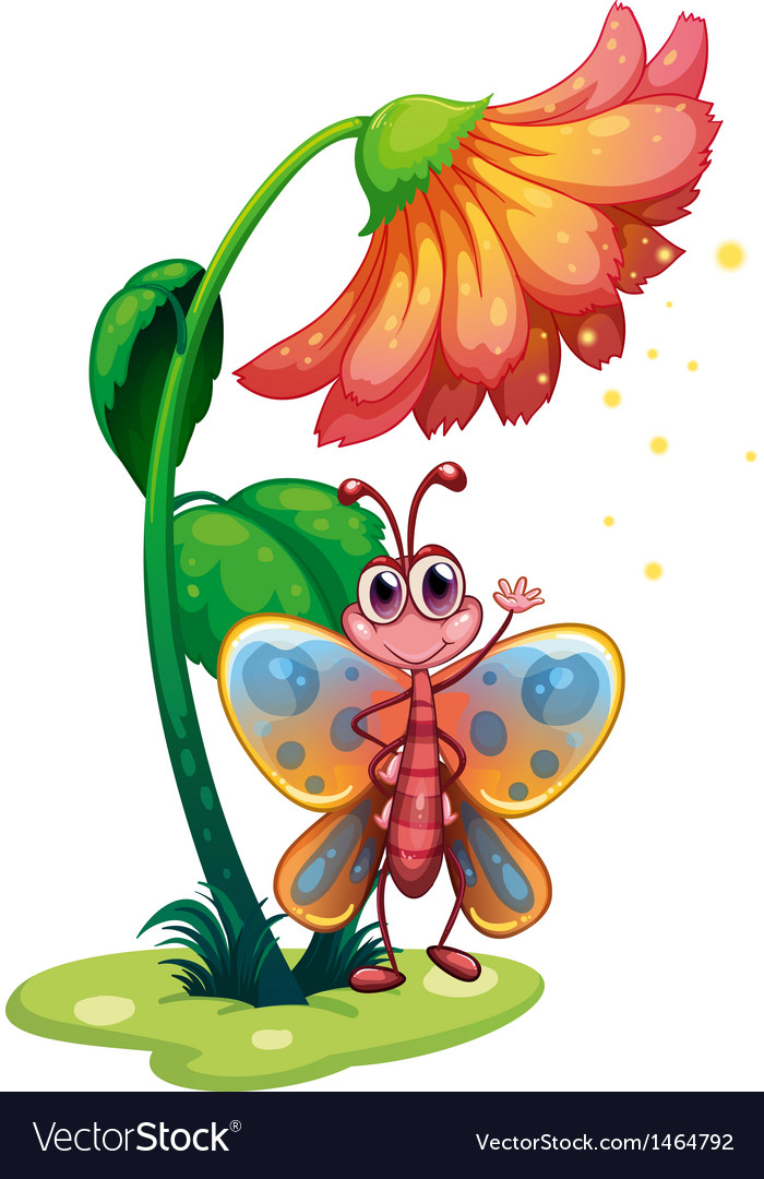 A butterfly waving below the giant flower vector   Price: 1 Credit (USD $1)