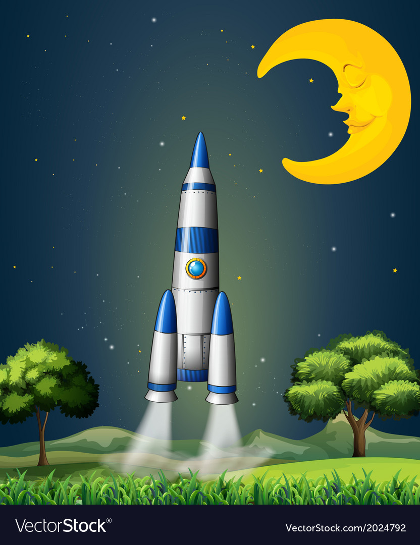 A rocket going to the sky with a sleeping moon vector | Price: 3 Credit (USD $3)