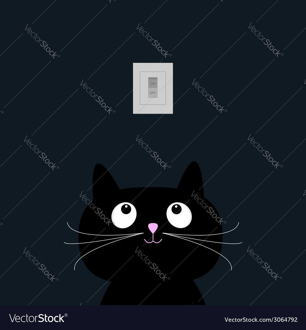 Black cat in the dark tumbler on off switch flat vector | Price: 1 Credit (USD $1)