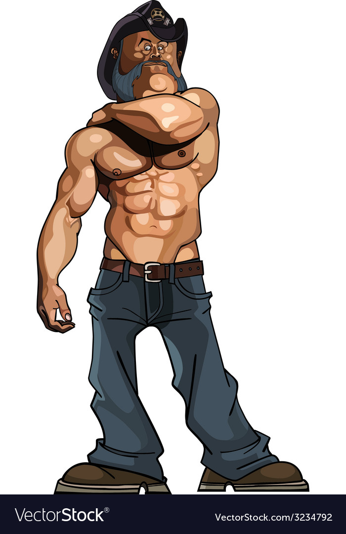 Cartoon bodybuilder man with a naked torso in vector | Price: 1 Credit (USD $1)