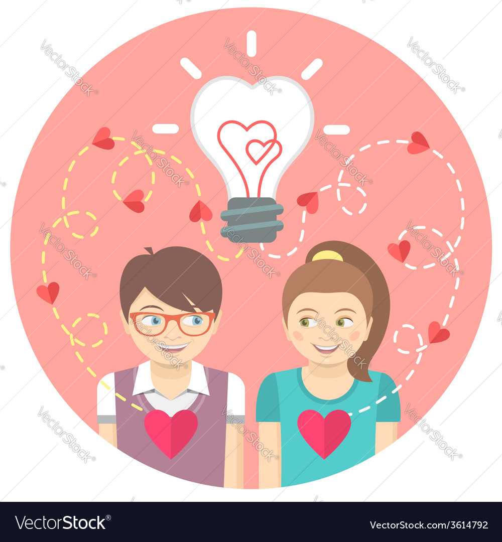 Couple in love with a light bulb in a pink circle vector | Price: 1 Credit (USD $1)