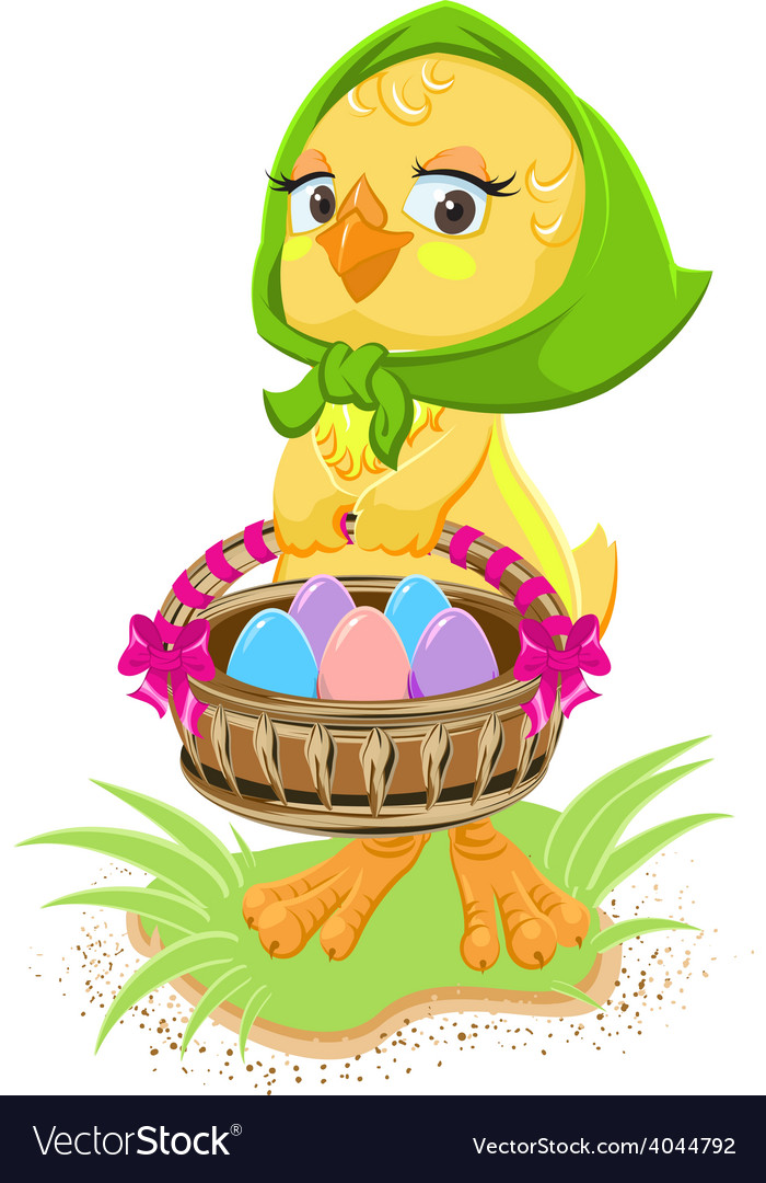 Easter - chicken holding a basket of eggs vector | Price: 3 Credit (USD $3)
