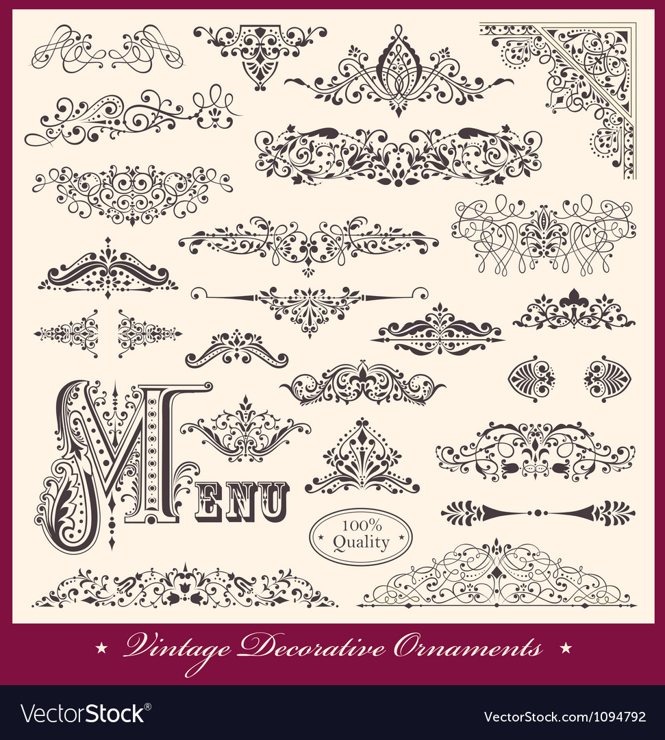 Elegant victorian letterhead flourishes vector | Price: 1 Credit (USD $1)