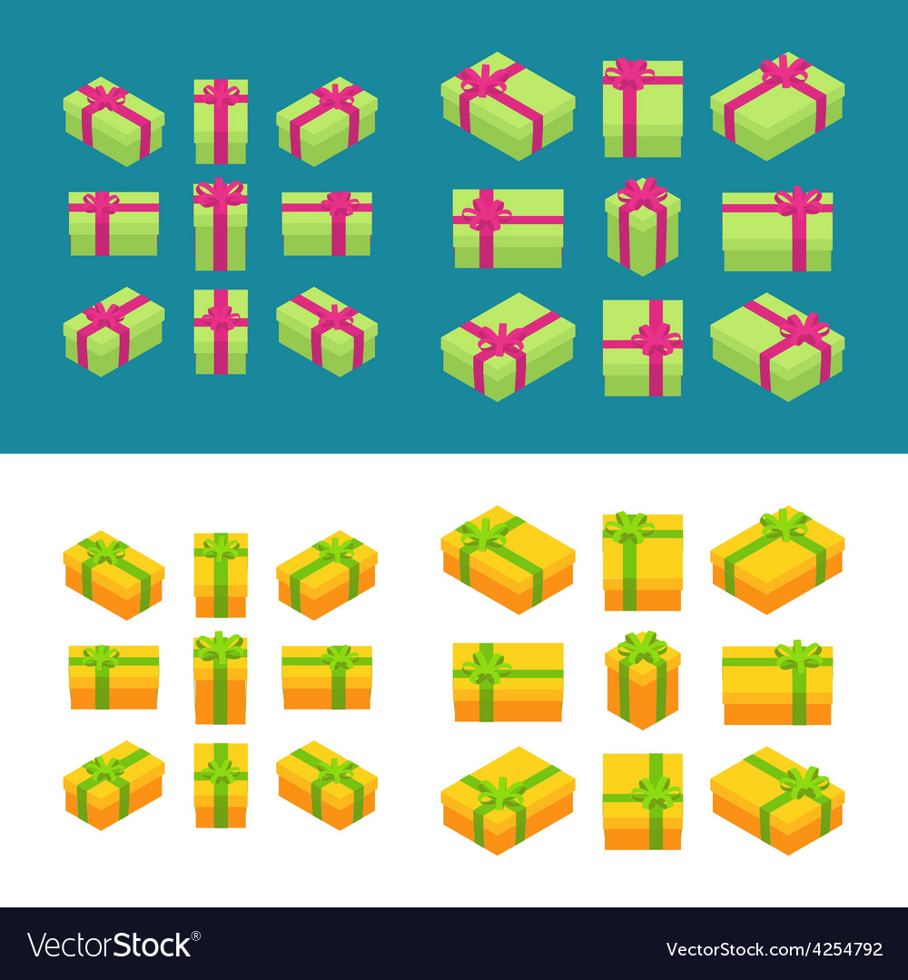 Isometric colored gift boxes vector   Price: 1 Credit (USD $1)