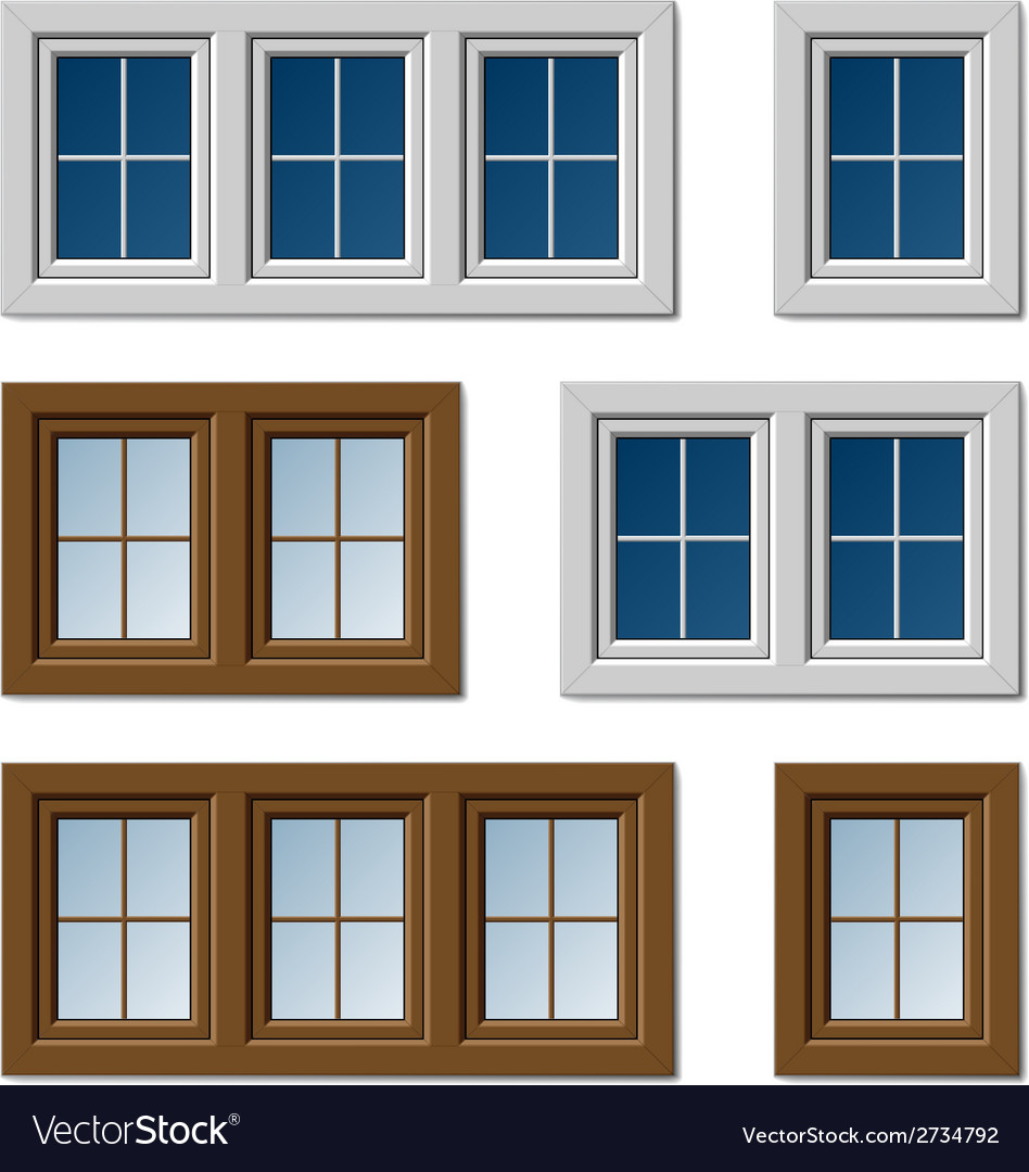 Plastic windows white brown vector | Price: 1 Credit (USD $1)