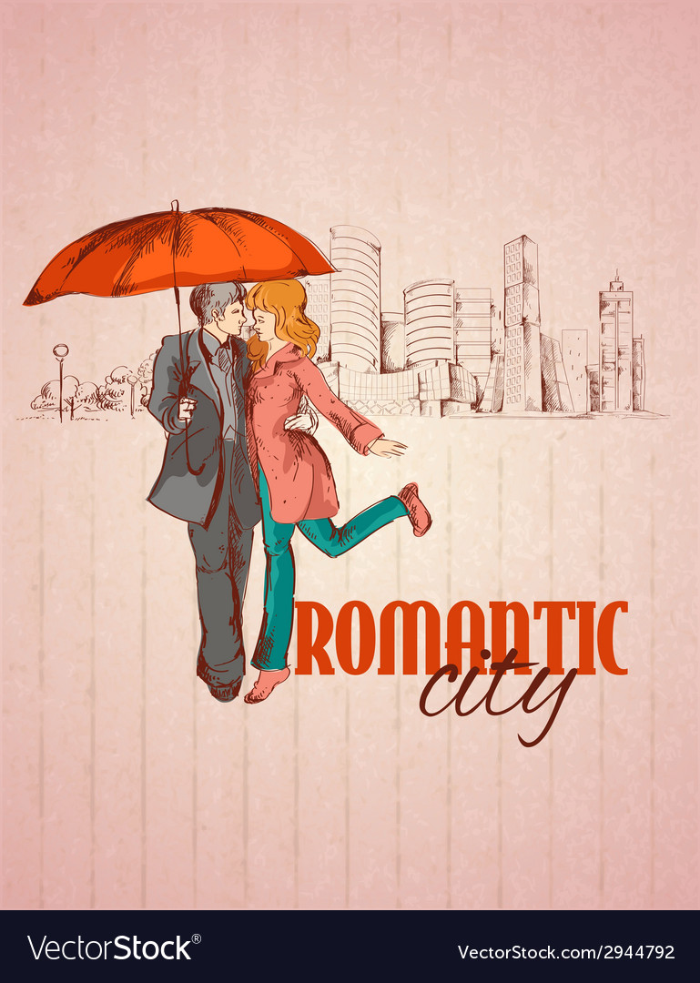 Romantic city poster vector | Price: 1 Credit (USD $1)