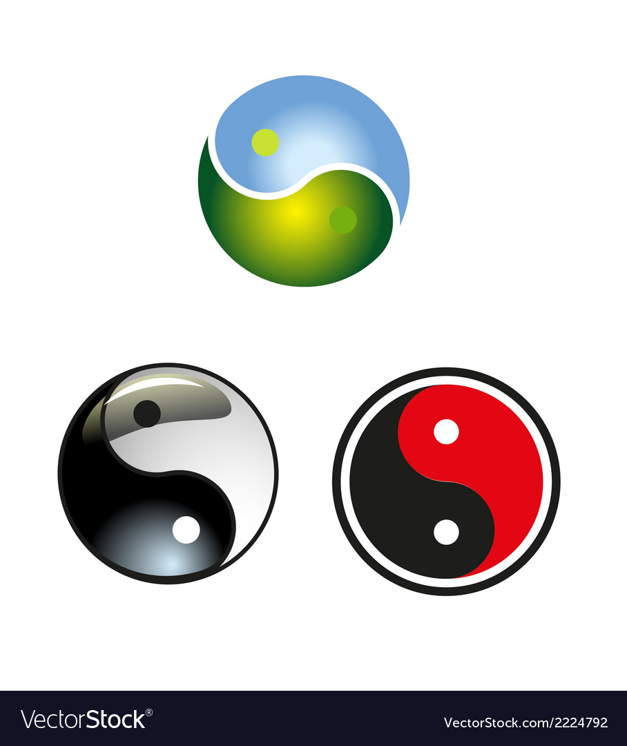 Set of yin-yang circle icon download vector | Price: 1 Credit (USD $1)